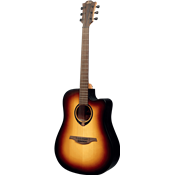 Lag T70DCE BRB - Guitare électro-acoustique dreadnought pan coupé Brown sunburst